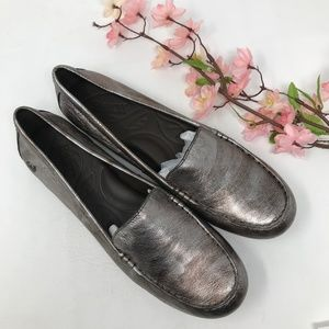 Born Metallic Slip On Loafers Moccasins Size 9